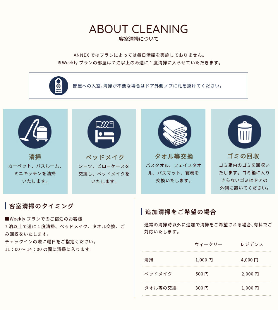 客室清掃について